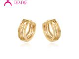 韩国14K纯金 刻面玫瑰金耳环  支持混批/一件代发