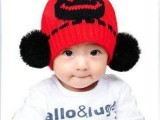 秋冬帽子韩版新笑脸手工毛线球帽 护耳婴儿童宝宝帽子针织帽批发