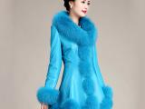2014新款海宁高仿皮衣女中长款海宁绵羊皮大毛领加棉皮衣外套女装