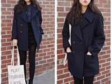 秋冬新款2014韩版女装 大翻领大口袋宽松长袖中长款毛呢大衣