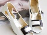 一件代发粗跟鱼嘴鞋 女式方扣中跟女凉鞋子 定制大码女鞋厂家直供