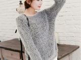 爆款秋季新款 女式套头毛衣 韩版纯色马海毛针织衫 原单女装外套