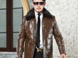 新款真皮羽绒服男式海宁绵羊皮水貂翻领男装真皮皮衣男士皮衣外套
