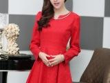 2014春秋新款韩版女装批发  压花织棉V领修身长袖显瘦连衣裙