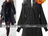 2013韩版春装新品 秋冬装羊绒毛呢大衣-抽绳泡泡袖毛呢外套