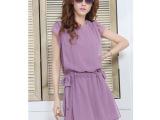 2013夏装新款女装纯色收腰紫色短袖雪纺连衣裙【名模实拍图】80