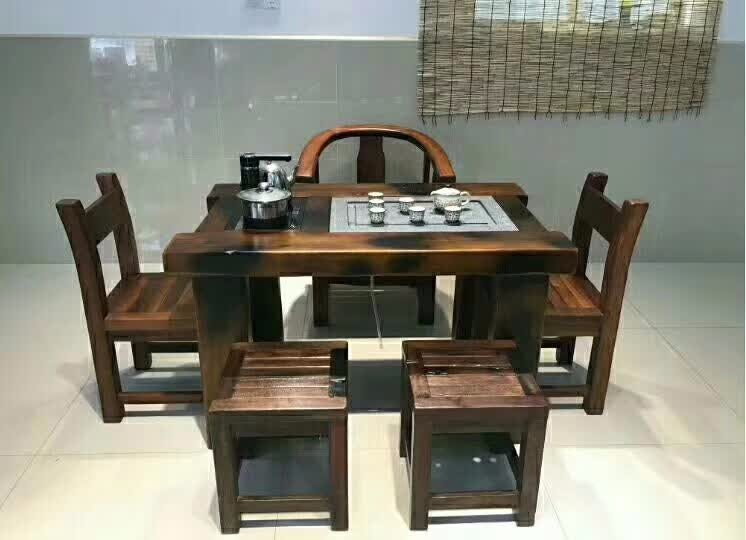 老船木中式功夫茶桌船木茶几船木茶台户外实木家具