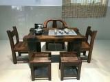 乌鲁木齐实木仿古家具老船木茶桌椅组合简约休闲古典泡茶桌
