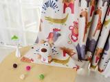 全网**韩式卡通动物园印花黑丝遮光窗帘布料批发 床帘面料