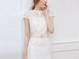 2015夏季新款镂空蕾丝裙性感钉珠欧美气质连衣裙子