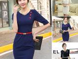 韩版修身夏季新款气质职业女装撞色中袖包臀A字裙大码连衣裙正装