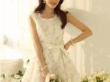 木岩2014春夏季新款 韩版修身无袖背心淑女百搭白色蕾丝连衣裙