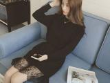 2015秋冬新款韩版圆领套头收腰蕾丝拼接长款针织衫连衣裙好质量