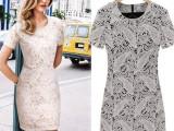 欧美女装 2014新款春夏时尚短袖连衣裙 夏装圆领蕾丝连衣裙 9