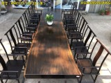 现货巴花实木大板桌原木茶餐桌红木奥坎黑檀胡桃木老板办公会议桌