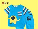 小酷车夏季新款t恤外贸韩版童装男童儿童宝宝套装纯棉大象两件套
