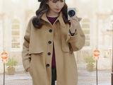 韩国东大门秋季风衣女 新款时尚萌系学院装饰口袋风衣女外套大衣