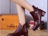 2015秋冬女鞋 短靴短筒V口女靴子真皮高跟粗跟尖头欧美单鞋马丁
