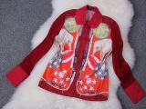 厂家直销一手货源外贸原单女装四季修身大象印花长袖衬衫明星同款