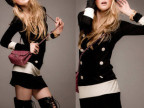 秋装新款韩版女装低领拼接色长袖长款打底衫118-6193