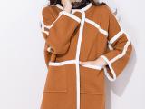 女式秋冬季新款女装时尚貂绒大衣翻领毛领中长款貂绒衫外套风衣