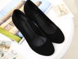 2014鞋都秋季新款中跟圆头女鞋  进口羊皮牛筋底黑色磨砂真皮单