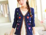 2014秋季女装桃心图案新款韩版针织开衫修身百搭短款披肩小外套