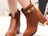 2014秋冬季新款欧美尖头中粗跟靴子马丁靴女英伦风短靴女鞋