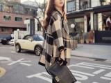 韩国东大门新款宽松针织衫毛衣外套 女英伦黑白格子格纹大衣开衫