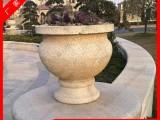 石雕花钵现货 黄锈石花岗岩花盆 大理石手工雕刻花钵