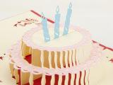 直销热卖地摊小商品批发DIY创意立体生日蛋糕贺卡剪纸雕信片定制