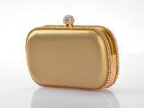 新款水钻金色晚宴包,厂家直销新娘婚礼方形手拿包11902