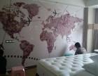 酒店床头背景壁画/酒店床头壁画/姿彩壁画
