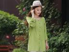 厂家批发2014秋季新款长袖衬衫圆领森女开衫棉麻大版衬衣女装488