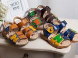 2015夏季新款拼接N字儿童鞋软底透气男中大童鞋真皮凉鞋一件代发
