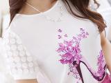 2015新款韩版女夏装 印花女装t恤蕾丝打底衫 短袖衫雪纺