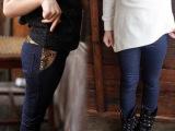 新款韩版春秋装 女童打底裤 纯棉针织牛仔 儿童长裤 女孩童裤