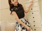 韩国代购夏装新款韩版镂空雪纺蕾丝拼接两件套女装 短袖 连衣裙