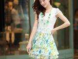 热卖2014夏装新款时尚女装 水溶蕾丝韩版甜美修身雪纺短袖连衣裙