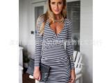 速卖通外贸爆款 2015新款女装 欧美深V领条纹连衣裙长袖包臀裙