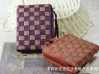 2015韩版男女可用短款真皮钱夹大容量羊皮撞色编织钱包真皮包