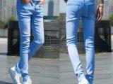 韩版男装修身牛仔裤 男式时尚铅笔裤 天蓝色男小脚牛仔长裤男批发
