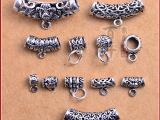 鼎盛 泰银纯银吊扣材料DIY饰品配件隔珠复古式纯银孔挂坠扣