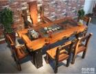呼和浩特老船木家具枕木茶台实木仿古茶台龙骨茶桌椅