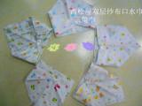 外贸纯棉双层纱布儿童三角巾婴儿带按扣三角巾宝宝口水巾围嘴批发