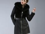 图萨尼羊毛皮毛一体大衣2014新款女士皮草外套女冬中长款真皮皮衣
