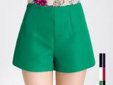2015春季新款韩版大码显瘦修身 女式高腰宽松提花A字阔腿短裤