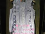 DZ地2014夏装新学院风条纹无袖荷叶边衬衫开衫女