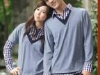 秋装新款情侣装长袖韩版翻领格子假两件情侣衫T恤 班服