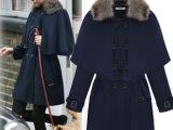 欧美2014时尚御寒款冬季新款毛呢外套毛领斗篷式呢子大衣批发61